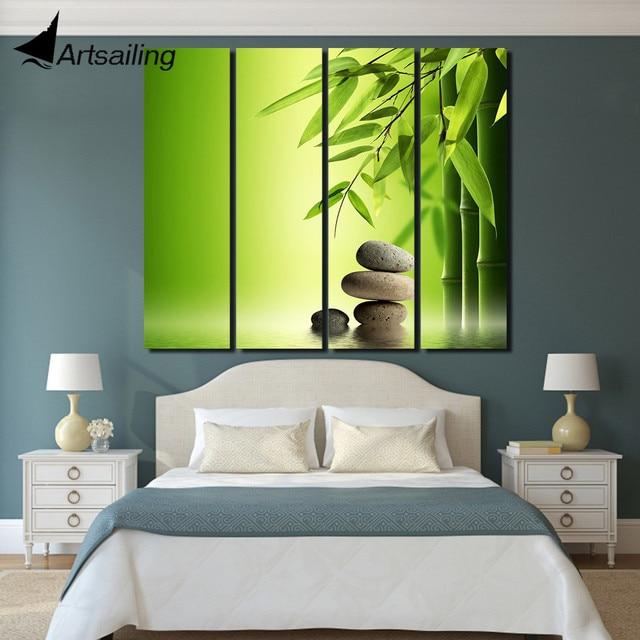 € 10.39 40% de réduction|4 pièces chinois mur art vert bambou peinture mur  photos pour salon décor maison mur photo livraison gratuite/up 1388D ...