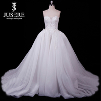 Two Pieces Wedding Dress 2018 Sweetheart Neckline Appliques Bodice Extra Puffy Skirt Full Pleats Flowing A line Bridal Gown New