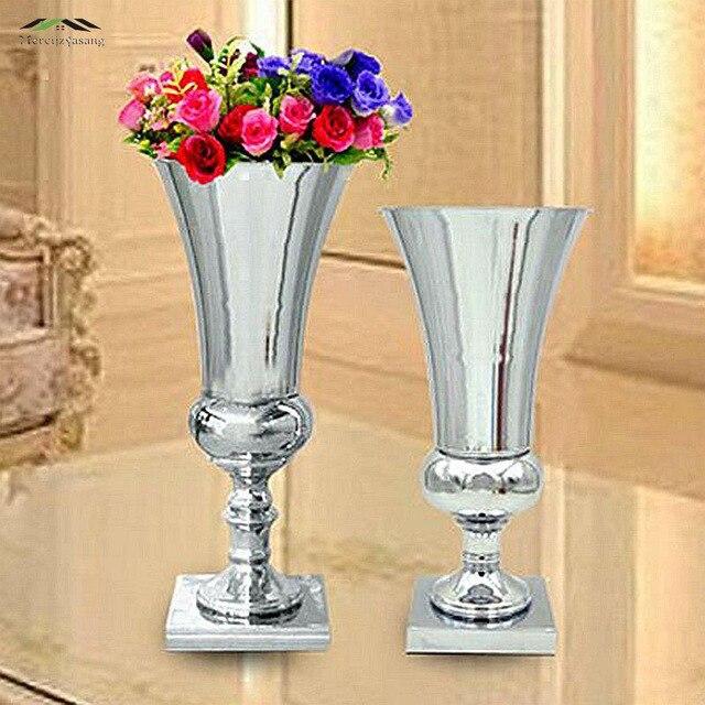 2 Teile Los Silber Metall Hochzeit Blume Vase Tafelaufsatz Fur