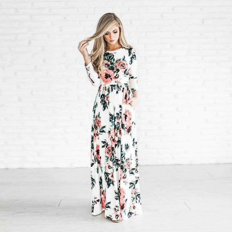 Women Floral Print Long Sleeve Beach Dress Lady Evening Party Long Maxi White Dress