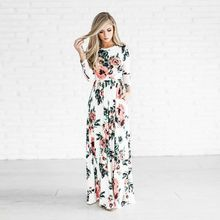 Women Floral Print Long Sleeve Beach Dress Lady Evening Party Long Maxi White Dress
