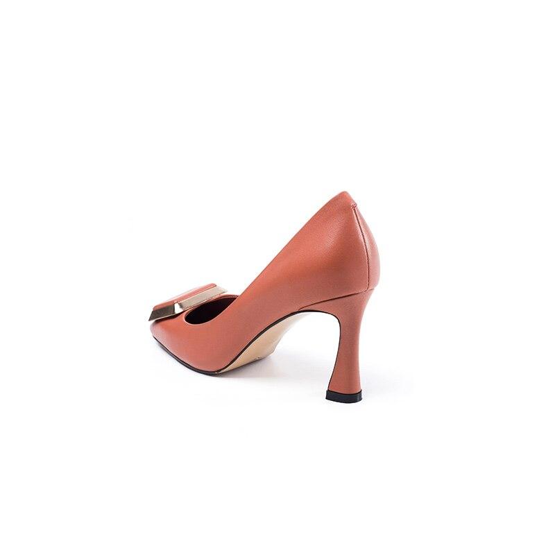 Universo Punta Elegante Vestido Primavera H247 Alto Rosa Zapatos Bombas Cuero De Fiesta Orange Genuino Mujer Otoño Tacón Oficina rrPAgYq