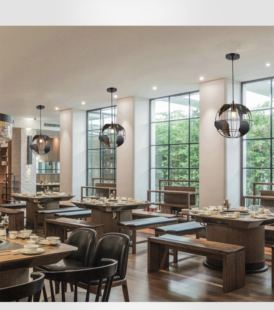 Современный подвесной светильник в скандинавском стиле с шаром, карта мира, E27, лампа белого и черного цвета для гостиной, кафе, бара, лофт, винтажный светильник - 2