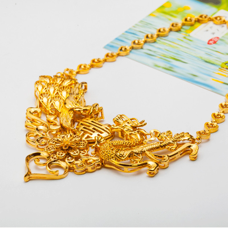 Vintage or jaune rempli Dragon & Phoenix pendentif collier femmes mariage bijoux de mariée cadeau - 3