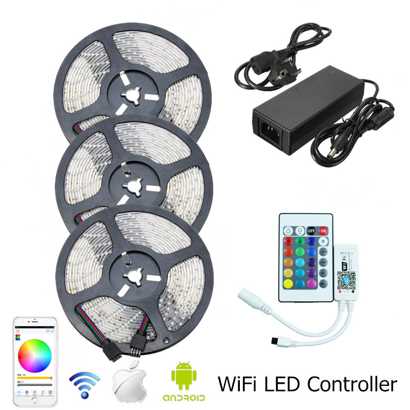 Waterproof RGB LED Strip Light SMD 2835 5m 10m 15m Led Light Tape With WiFI Controller+12V 2A 3A 5A LED Adapter Driver