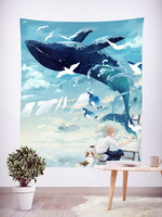 Watercolor Big Fish Home Tapestry Cloth Wall Decoration Tapestry Live Background Cloth Tablecloth Partition Curtain