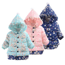 2019 Floral Hooded Girls Down Jacket Fleece Children Outerwear Long Winter Girl Clothes Thick Coats Outfit Fashion Overcoat 2-4Y