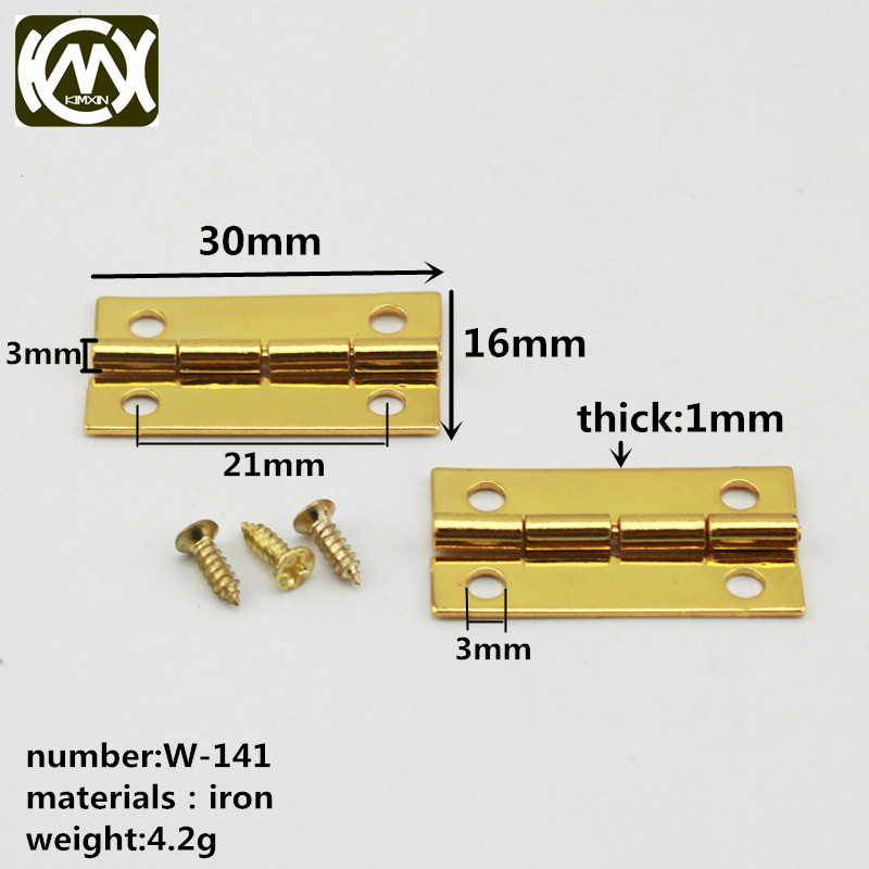 W-141 10pc 30mm*16mmWooden box hardware accessories, cigar box hinge iron hinge Mini hinge Equipped with screw Exempt postage