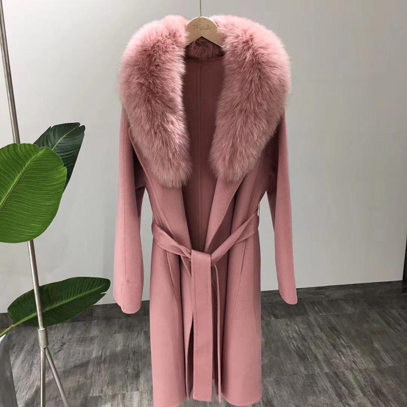 winter coat women long style pink real fox fur collar wool coat Clothes 2018 Korean Alpaca Casual Elegant Slim plus size