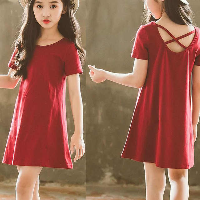 64df526a0333 backless toddler girls summer clothing short sleeved t shirts dress red  mini big kids summer dresses for girls 2018 clothes