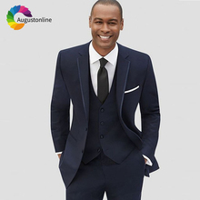 цена на Slim Fit Navy Blue Men Suits for Wedding Groom Tuxedos Business Prom Wear 3Piece Jacket+Pants+Vest Best Man Blazer Costume Homme