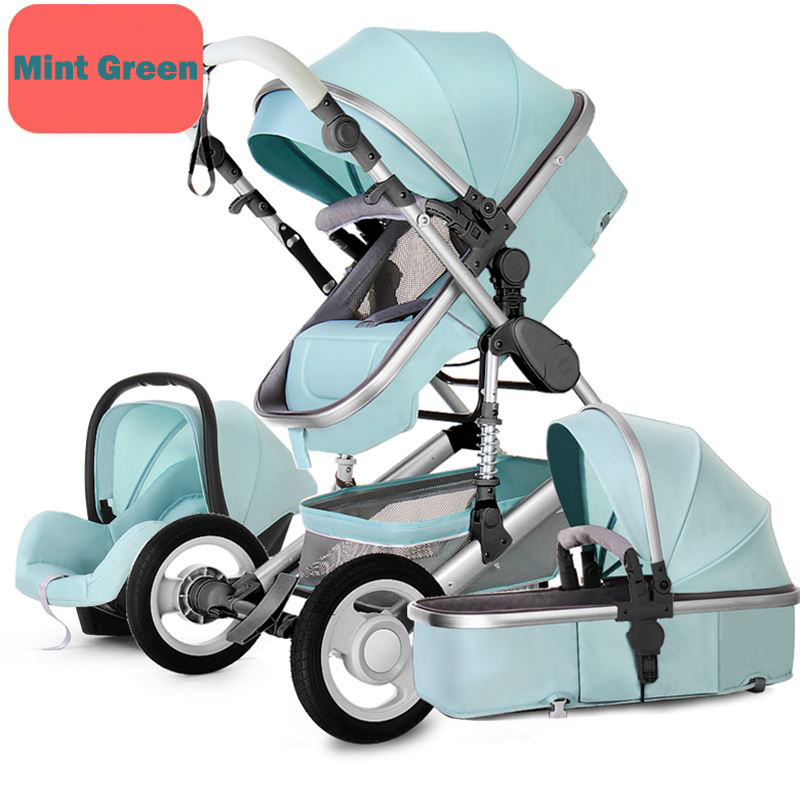 купить Baby Stroller 3 in 1 foldable pushchair High Landscape Pram infant bassinet Car Seat Babies sleeping basket Can sit and lie по цене 15299.44 рублей