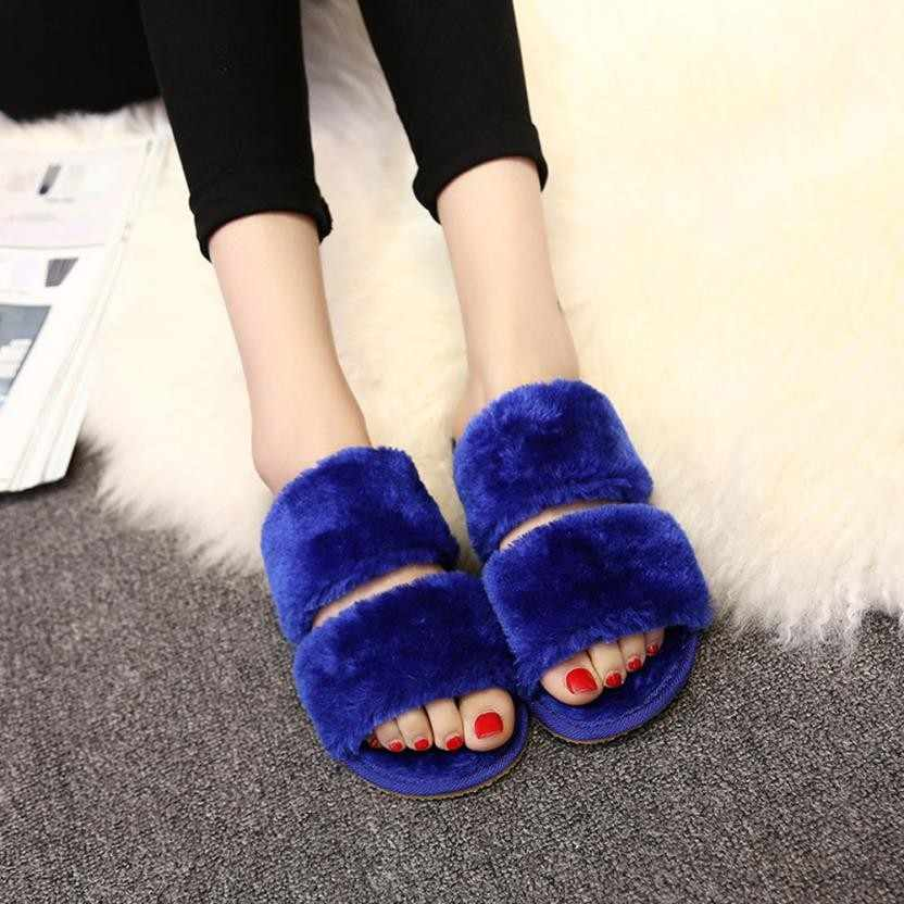 d5f991512015 Plus Size 36-41 Hot Women Slippers Fashion Spring Summer Autumn Plush Slippers  Women Faux