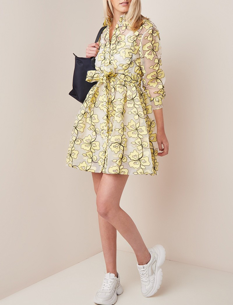 2019 neue Frauen Mesh Stickerei Flauschigen Kleid Langarm Mini Kleid und innenseite Slip Set-in Kleider aus Damenbekleidung bei  Gruppe 1