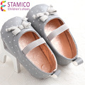 2016 primavera Verão Suave Sole Baby Girl dot Sapatos de Algodão Bebé Sapatos primeiros Caminhantes PU Moda Butterflyknot Primeiras Crianças sapatos