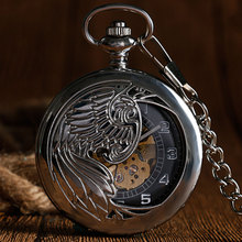 Retro Silver Steampunk Fashion Nurse Phoenix Elegant Automatic Mechanical Self Winding Pocket Watch Necklace Chain Fob Watches