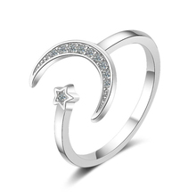 2018 New Fashon Silver Color Adjustable Crescent Moon and Tiny Star Rings For Women Hot Fashion Cute Ring