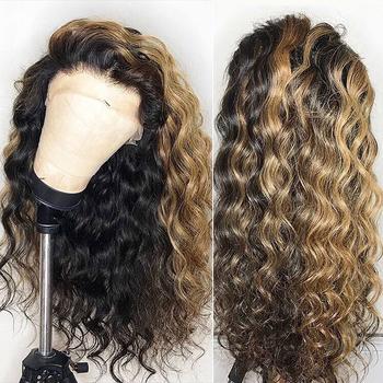 Wyróżnij pełna 360 czołowa koronki peruka PrePlucked kolorowe 1b 27 Ombre miód blond 13 #215 6 głębokie przodu włosów ludzkich peruk luźna fala Remy tanie i dobre opinie 1 sztuka tylko Ludzki włos atina Średni Luźne fale Remy włosy Pełne koronkowe peruki Koronki przodu peruk 360 Koronki Przednie Peruki