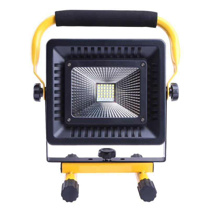 Portable LED Floodlight 50W Flood Light Spotlight 2400LM Waterproof Outdoor Rechargeable Light Power by 4x 18650 Batteries Lamp 50w 2400lm rechargeable led floodlight portable searchlight led spotlight waterproof ip65 50w 2400lm 36led 3 mode outdoor lamp