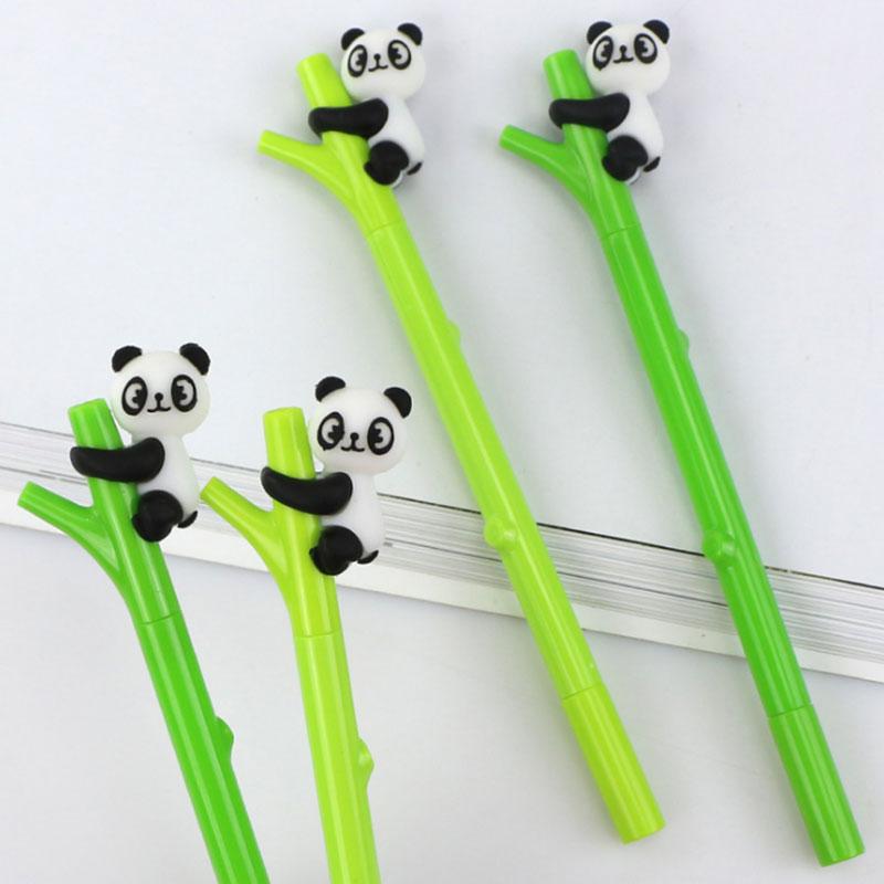 цена на 2 pcs/lot Green bamboo panda gel pen writing pens kawaii stationery caneta material escolar office school supplies papelaria