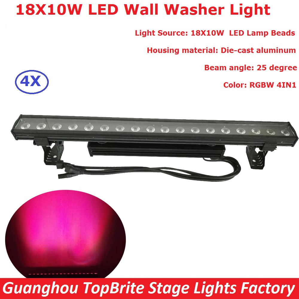 New Function 4Pcs/Lot 18X10W 4IN1 Outdoor Led Wall Washer Light RGBW Led Bar Light DMX Mode,Led Stage Light RGBW 100-240V купить