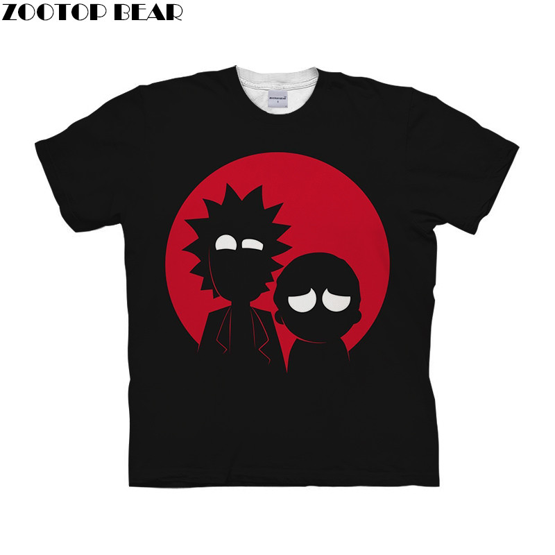 Cartoon rick and morty Men Black T Shirt Quick Dry Male Shirts 3D Printed Fitness Mens Tee Breathable Summer Casual ZOOTOPBEAR