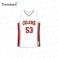 6e26a560a14 Junior Battle  53 Richmond Oilers Away White Red Throwback Movie Basketball  Jersey Stitched S-