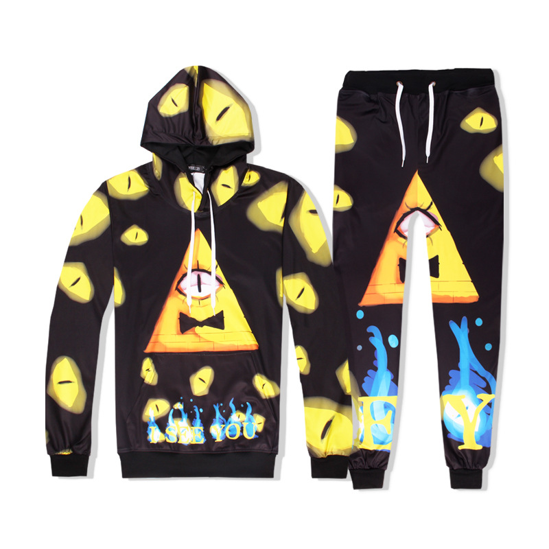 2018 Hot Two Piece Set Men And Women Casual Tracksuits 3D Printing Gravity Falls Fashion Hoodies Hooded+Pants Sweatshirt