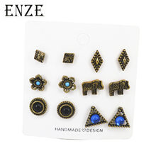 ENZE6 pairs fashion ladies earrings set antique copper flower triangle elephant animal zinc alloy jewelry for men and women punk(China)