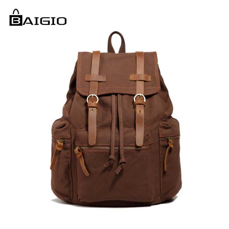 Baigio New Fashion Men's Backpack Vintage Canvas Travel Bags Laptop Backpack Shoulder Bag Large Capacity Travel Men Backpack Bag newest hmong embroidered women backpack black canvas ethnic casual travel backpack fashion vintage laptop bags