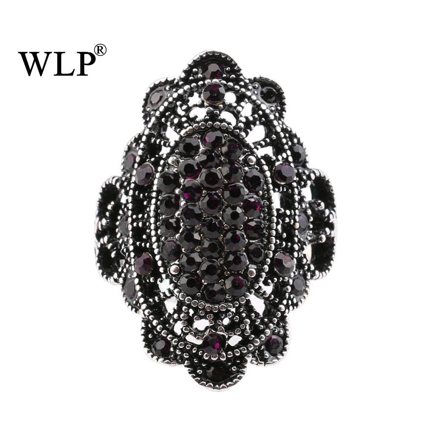 WLP 2018 Full Crystal Vintage Bohemian Boho Women Fashion Finger Rings Antique Gold Color Free Shipping Hollow Big Stone Ring