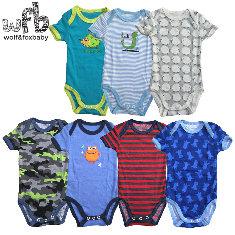 0 2years 5pieces lot short Sleeved Baby Infant cartoon bodysuits for boys girls jumpsuits Clothing in Bodysuits from Mother Kids