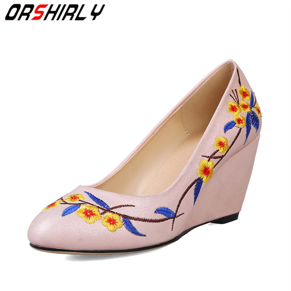 Orshirly New Women's Casual shoes comfortable PU leather Fashion Women High Heels Elegant Wedges pumps feminine