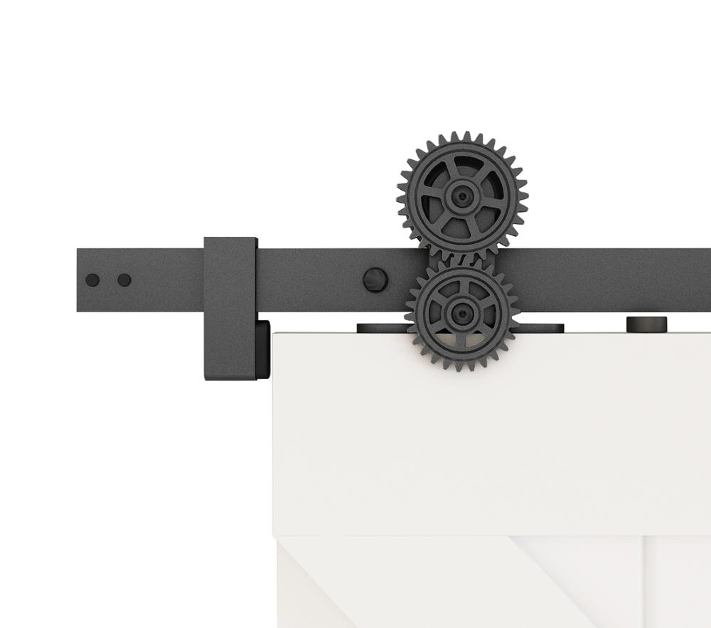 DIYHD Top Mount Twin Gear Roller Sliding Barn Door Hardware,Rotatable Gear Roller,Black,Fit 16'' Apart Studs Wall
