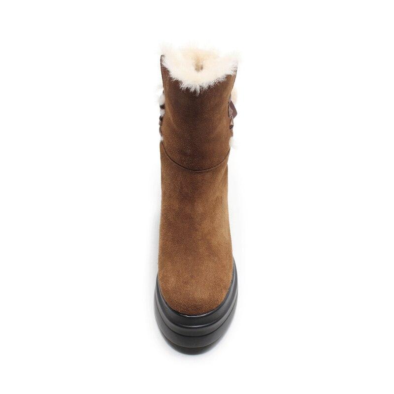 Vaca Del Moda 34 Cuñas De Mujer Botas Alto Botines Cuero Salu marrón Talón Tamaño Marrón Diseño 39 Negro q0fX11