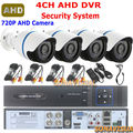 CCTV Kit 1.0MP IR CCTV Cameras 720P Waterproof Outdoor + 4 Channel Video Recorder 4CH Audio HDMI Motion Detect Security System