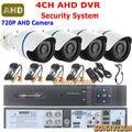 Kit CCTV 1.0MP IR cámaras CCTV 720 P impermeable exterior + grabador de vídeo 4 canal 4CH Audio HDMI de detección de movimiento sistema de seguridad