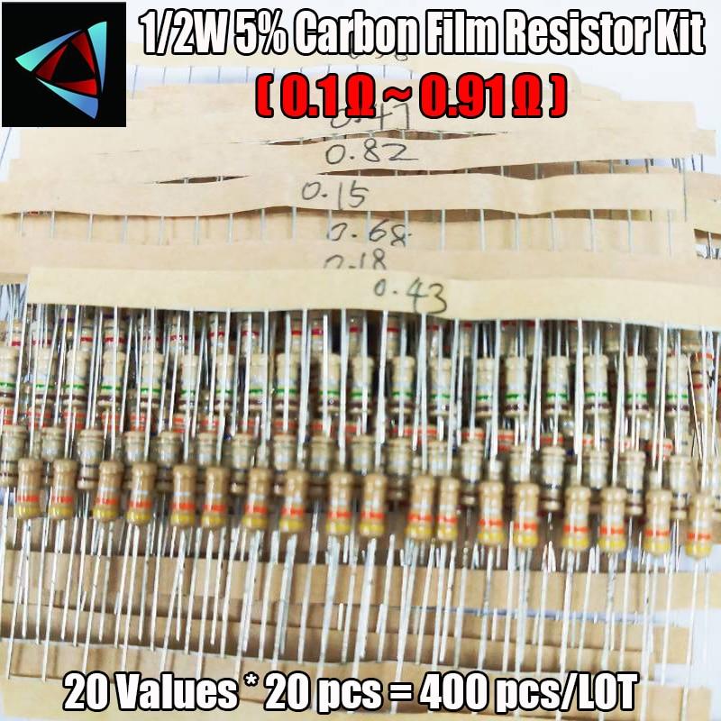 20 Values 400pcs 0.1 Ohm - 0.91 Ohm 1/2W 5% Carbon Film Resistors Assortment Kit
