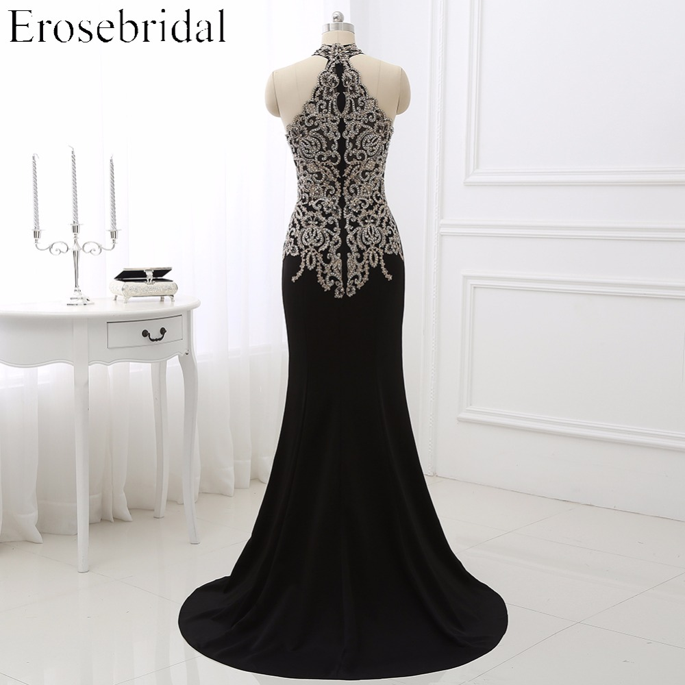 Image 4 - 2019 Black Mermaid Evening Dress Plus Size Erosebridal Gold Appliques Bodice Formal Women Party Gowns Halter Dresses ZDH04-in Evening Dresses from Weddings & Events