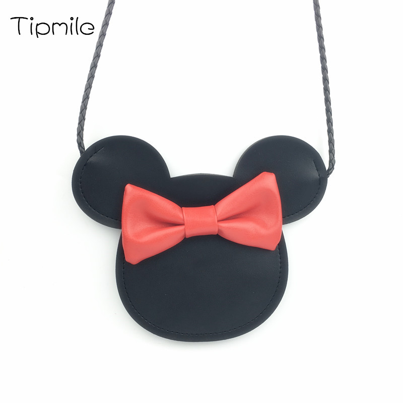 Kids PU Mickey Handbag Bow Cute Party Messenger Bag Little Girls Princess Fashion Bag Baby Girls Korean Party Bag for Children cute kids baby girls embroidered my little black letter bow bodysuit jumpsuits
