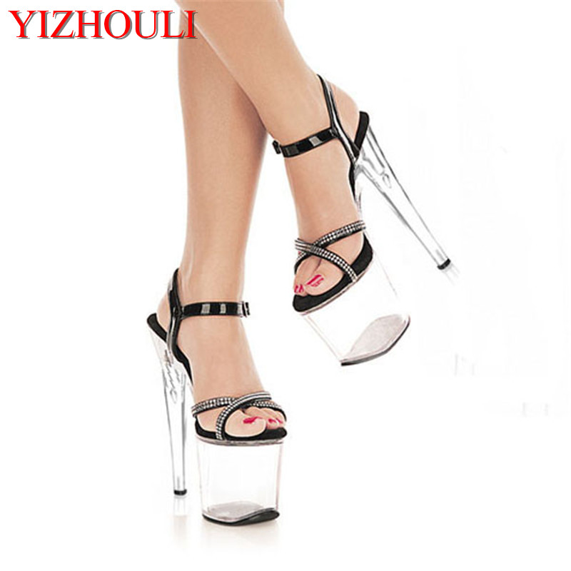 20cm ultra high heels sandals silver paillette wedding shoes platform crystal shoes 8 inch sexy pole dancing clubbing high heels