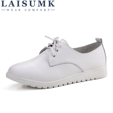LAISUMK Woman Genuine Leather Flat Loafers Spring Platform Shoes Breathable Fashion Lace Up Leisure