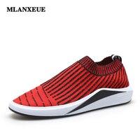 MLANXEUE Men S Summer Fashion Breathable Flat Shoes Korean Style Fly Woven Fabric Non Slip Lightweight