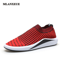 MLANXEUE Men S Summer Fashion Breathable Flat Shoes Korean Style Fly Woven Fabric Non Slip Lightweight