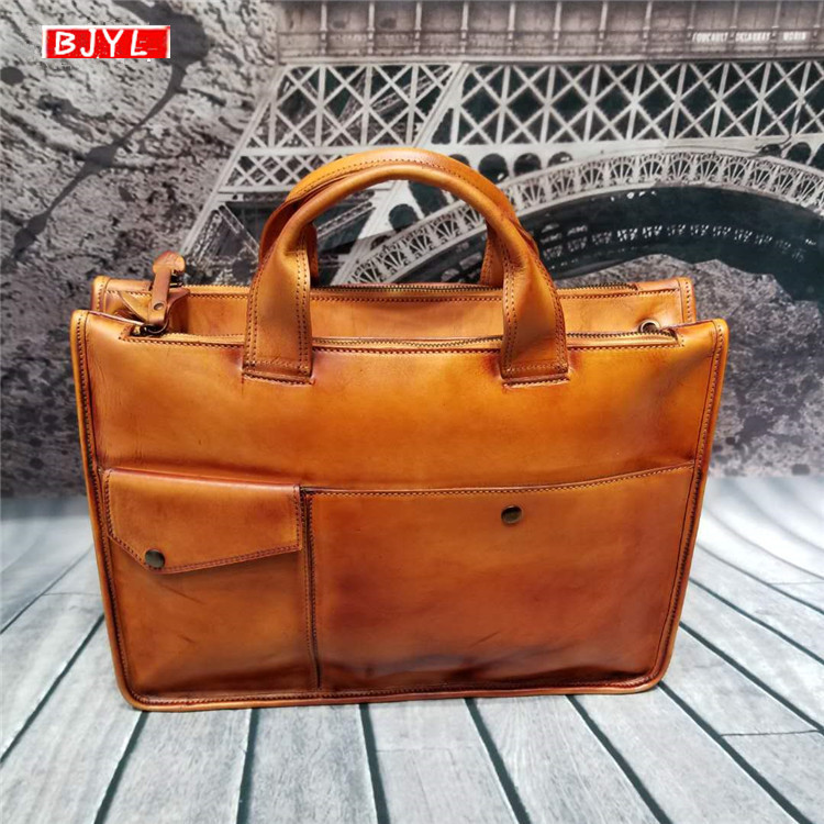 2019 Genuine Leather Men's Briefcases Large Capacity Handbag Men Shoulder Bag Vintage Crossbody Bags Business Laptop Briefcase