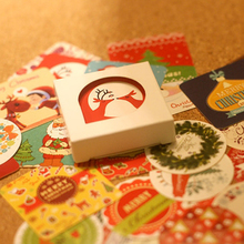 Rushed Promotion 38 Pcs/box Merry Christmas Mini Paper Sticker Decoration Diy Diary Scrapbooking Seal Kawaii Stationery