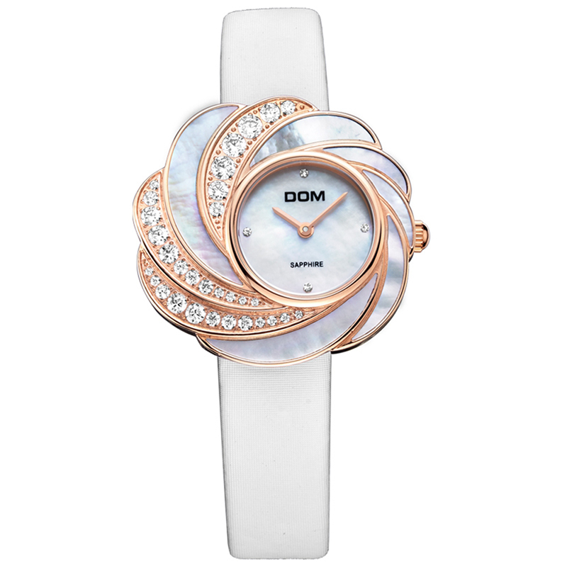 DOM Brand Watches Women Luxury Flower Ladies Watch Wristwatches Clock Women's Casual Quartz Rhinestone Watch Reloj Mujer