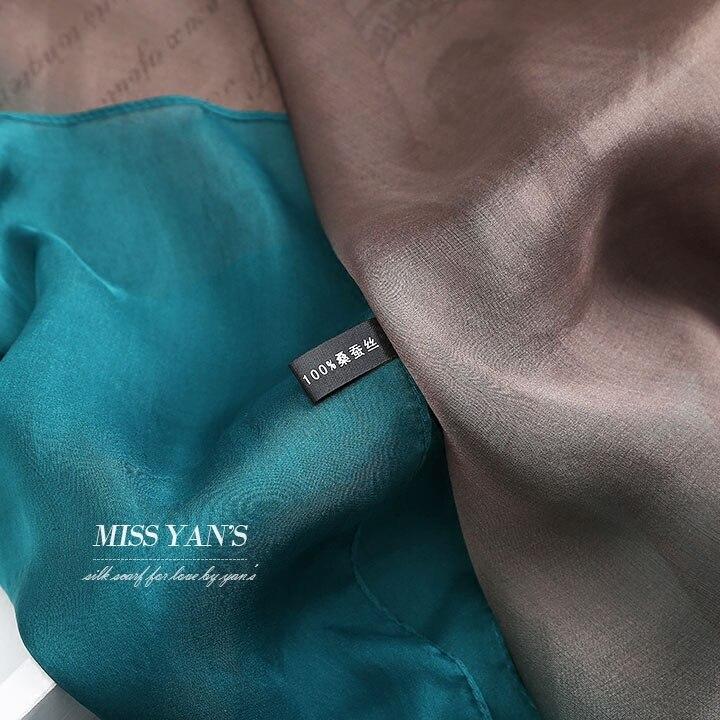 8466883c9389 Genuino seda bufanda de las mujeres de moda clásico tinta verde degradado Bufandas  verano Otoño Invierno buena calidad chal collar en Las mujeres bufandas ...