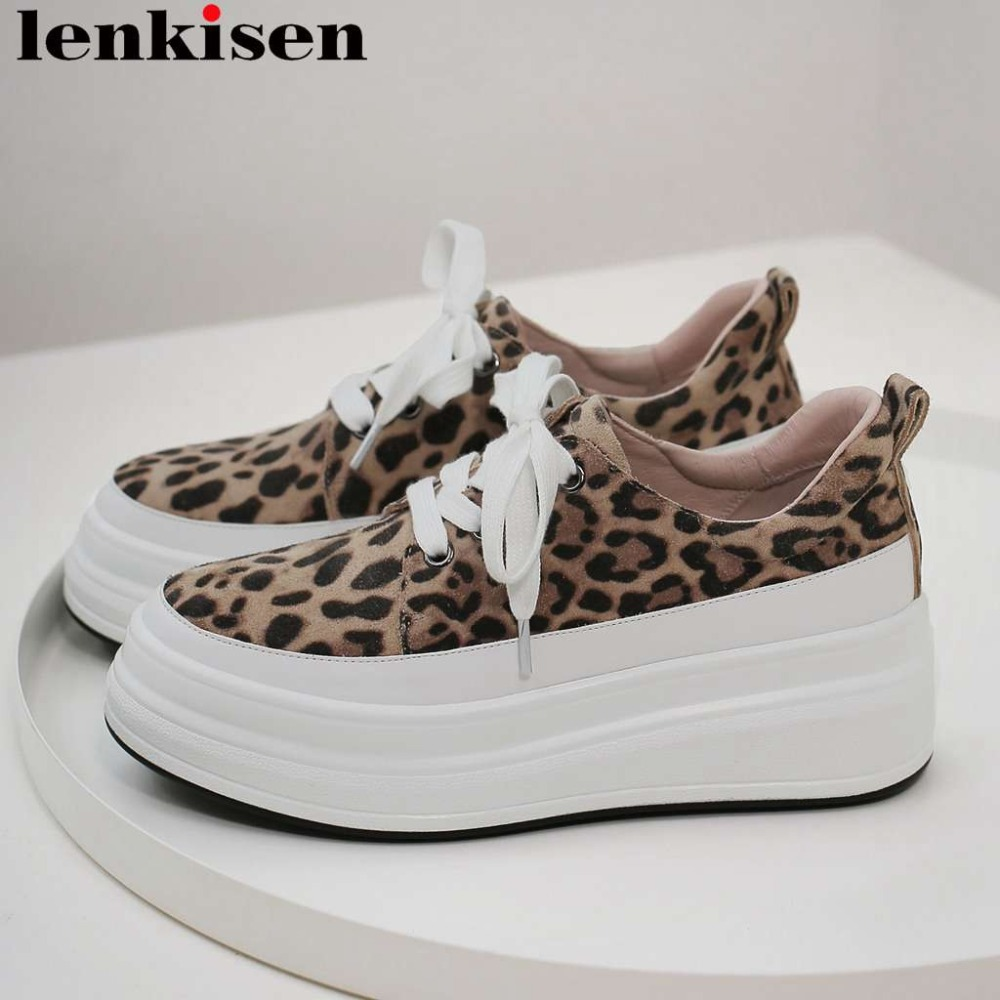 Large size sexy leopard thick med bottom platform natural leather lace up sneakers round toe loafers