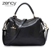 Zency Fashion Women Tote Bag 100 Genuine Leather Handbags Female Boston Charm Luxury Messenger Crossbody Shoulder